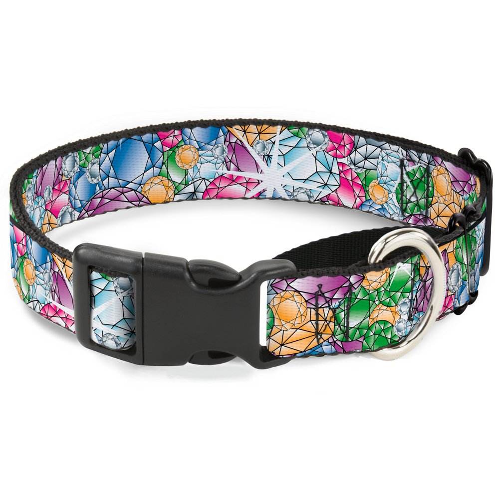 Buckle-Down Gems Stacked Multi color Martingale Dog Collar, 1.5  Wide-Fits 18-32  Neck-Large