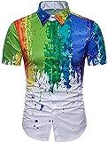 Xswsy XG Mens Summer Slim Ink Print Short Sleeve Button up Shirt