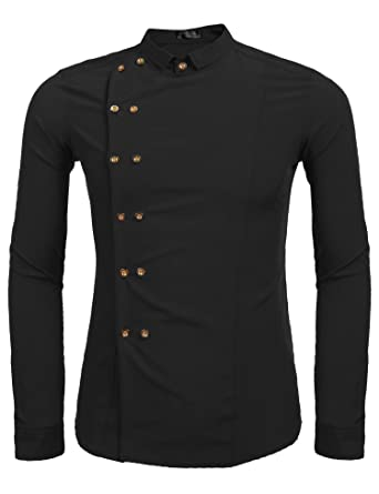 Modfine Men's Casual Long Sleeve Slim Fit Double-Breasted Button ...