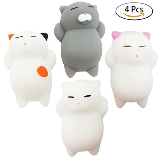 CRITTERS Squishy Cat Toy - Cute And Fun Small Mochi Cat Squishy For Young Boys and Girls - Cat Squishies Include 4 Pcs of Adorable Kawaii Soft Silicone Cats - Perfect Plush Fidget Toy For Kids