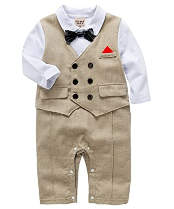 de7b36becb45 Amazon.com  ZOEREA Baby Boys Gentlemen Romper Suits Toddler Cotton ...