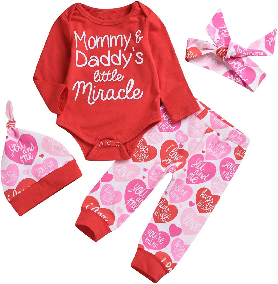 Infant Newborn Baby Daddy's Mommy's Miracle Romper Pants Hat Headband Outfit Set