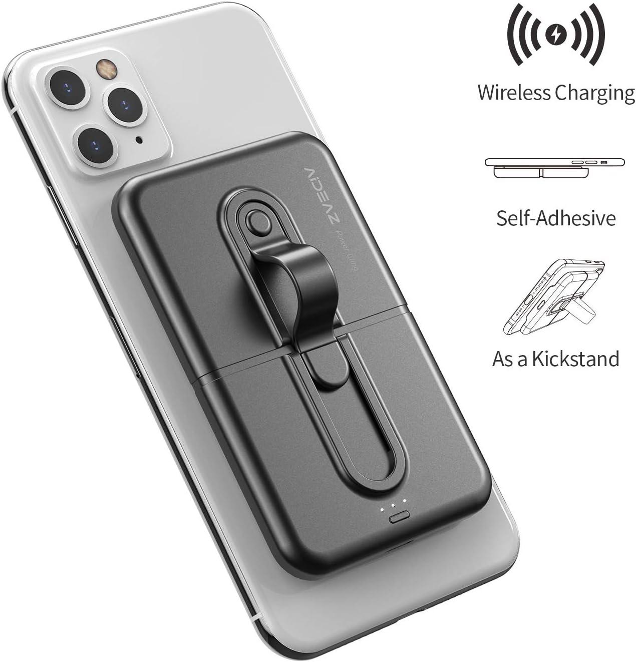 AIDEAZ Powerbank Mini 5000mAh Inalámbrico Batería Externa para Movil, con Soporte para Teléfono Cargador de Batería, Compatible con iPhone 8/8 Plus/X/XS Max/XR/11 Pro, Samsung S9/S9+/S10/S10+ y Más: Amazon.es: Electrónica