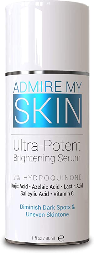 Admire My Skin Dark Spot Corrector Remover for Face 2% Hydroquinone Melasma Treatment Fade Cream with Kojic Acid Vitamin C, Salicylic Acid, Azelaic Acid, Lactic Acid Peel (1oz)