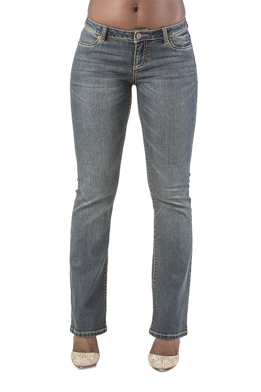 Poetic Justice Curvy Women鈥檚 Vintage Wash Stretch Denim Slim Skinny Bootcut Jeans