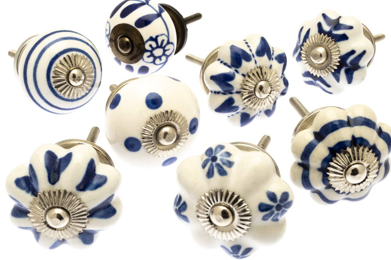 Set di pomelli misti in ceramica stile shabby chic e vintage modello MG-401 confezione da 8 pezzi Mango Tree/™ colore: blu per credenza