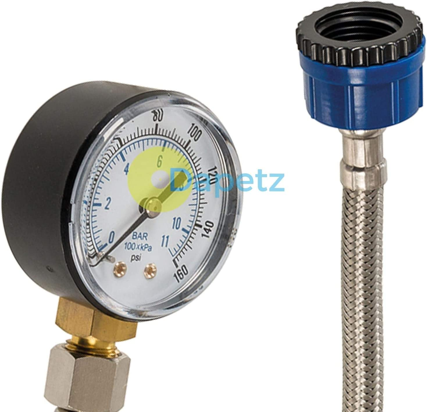 Dapetz/® Mains Water Pressure Test Gauge 0-11bar 0-160psi with Stainless Steel Hose