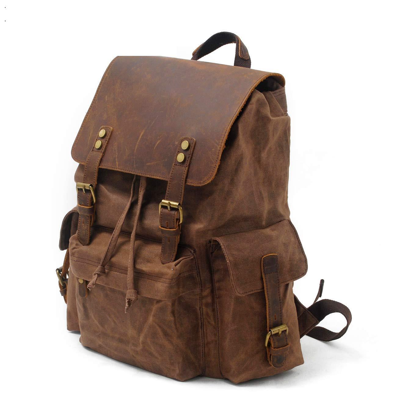 17e3862c11e9 SVANZE Vintage Canvas Leather Laptop Backpack for Men School Bag 15.6