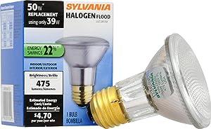 SYLVANIA Capsylite Halogen Dimmable Lamp / PAR20 Flood Light Reflector / 50W replacement / Medium base E26 / 39 Watt / 2850 K – warm white
