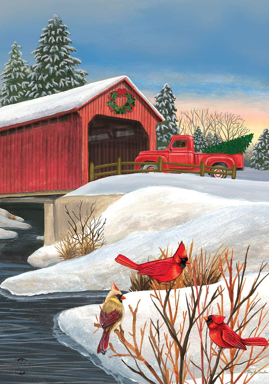 "Briarwood Lane Winter Bridge House Flag Pickup Truck Cardinals 28"" x 40"""