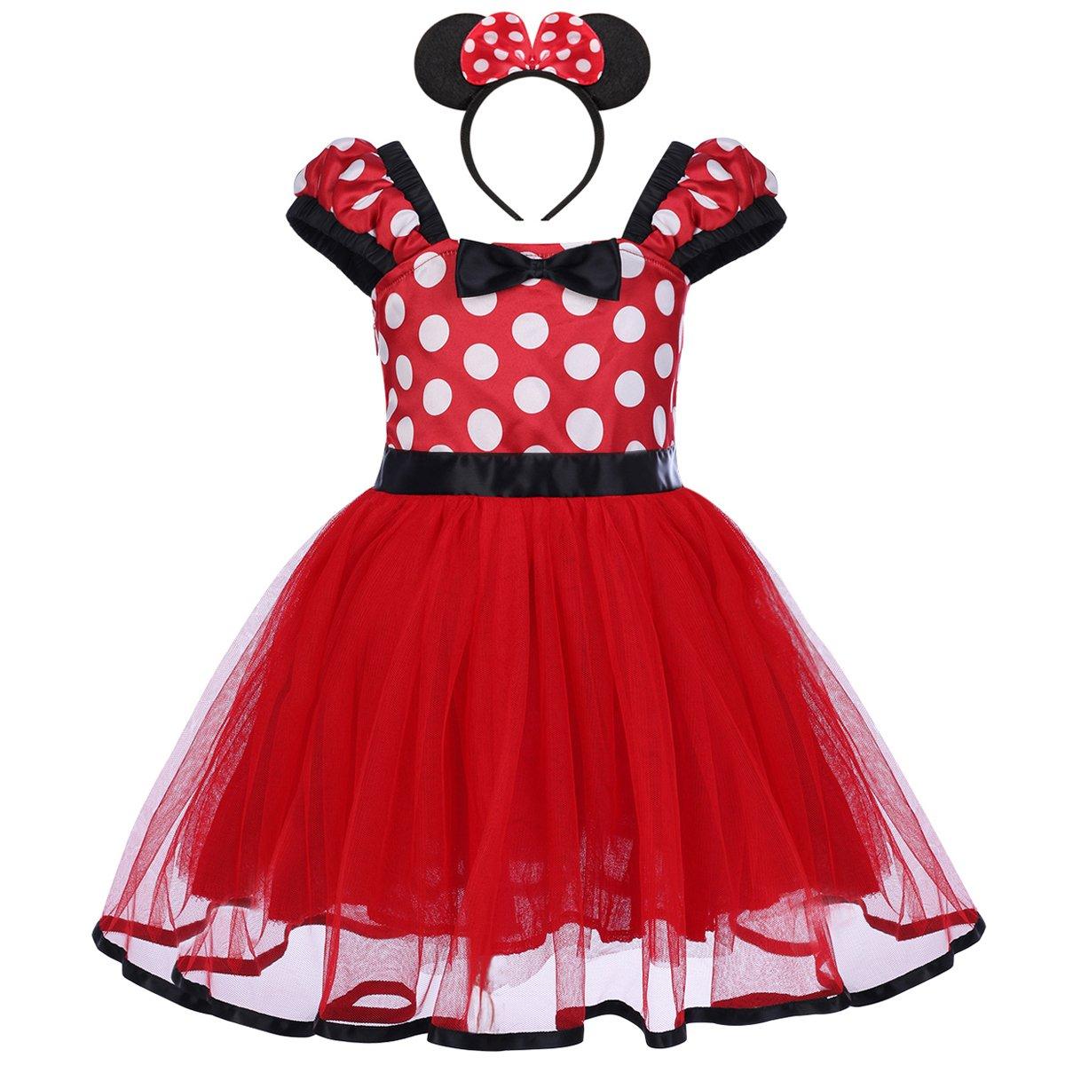 Baby Kid Girl Minnie Polka Dot Tutu Fancy Dress Headband Cartoon Bowknot Party Cosplay Dance Costume, Red, 4-5 Years