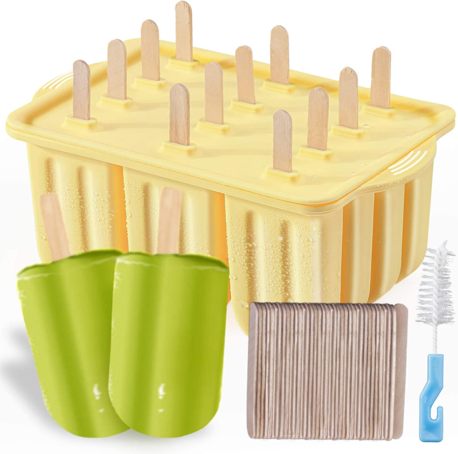 Popsicle Molds Kit, MEETRUE 12 Pieces Silicone Popsicle Molds Easy-Release BPA-free Popsicle Maker Molds Ice Pop Molds Homemade Popsicle Ice Pop Maker with 50PCS Popsicle Sticks+Cleaning Brush, Green