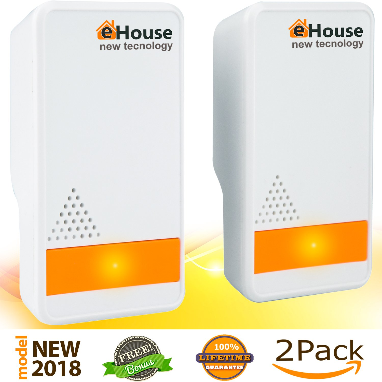 Ultrasonic Pest Repeller - (2 Pack) Electronic Plug in Best Repellent - Pest Control - Get Rid Of - Rodents Squirrels Mice Rats Insects - Roaches Spiders Fleas Bed Bugs Flies Ants Mosquitos Fruit Fly! eHouse