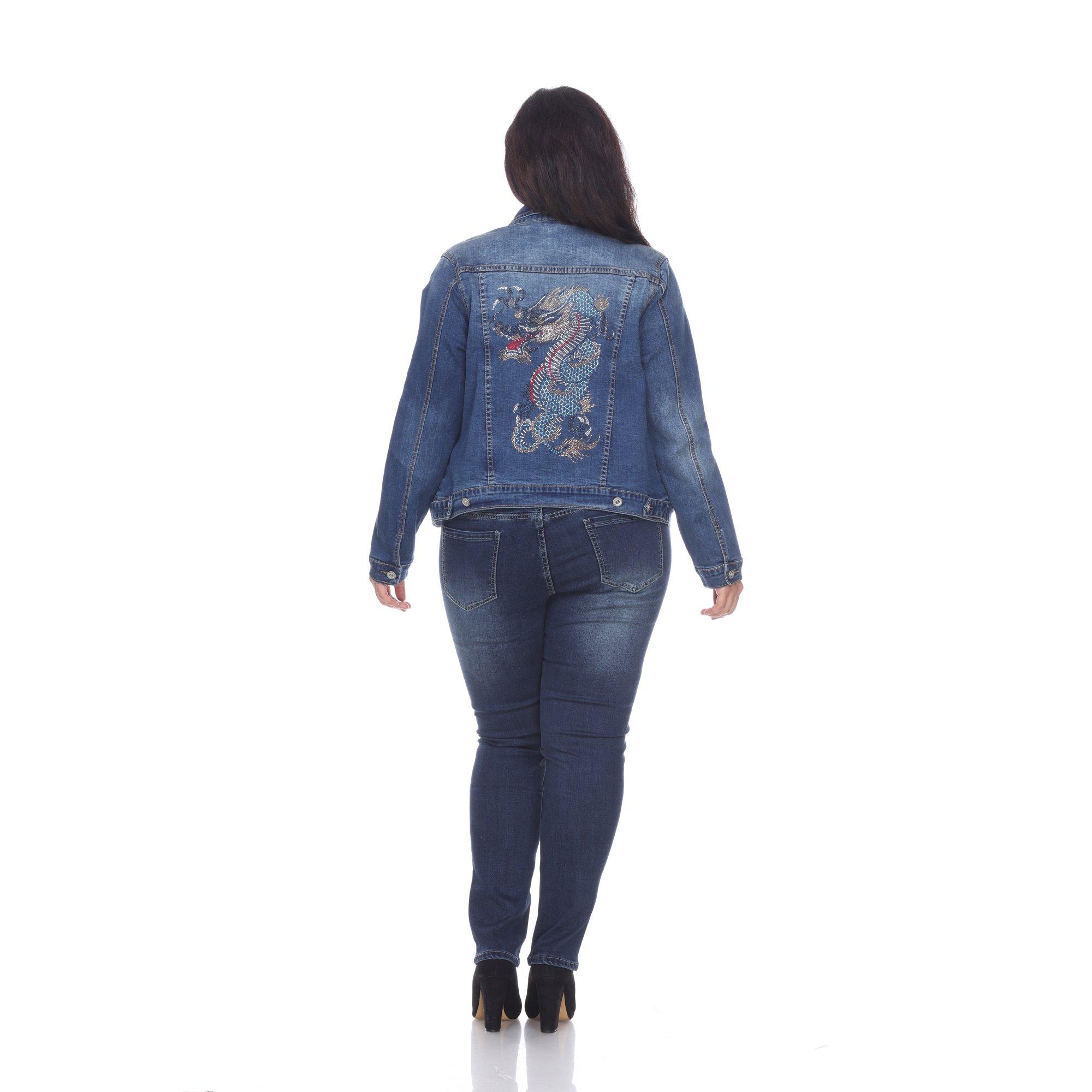 Women's Plus Size Denim Jacket with Dragon Embellished Gem Design