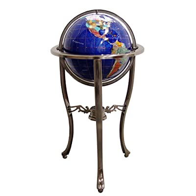 "Unique Art Since 1996 Brand 37"" Tall Bahama Blue Pearl Swirl Ocean Floor Standing Gemstone World Globe with Tripod Silver Stand and 50 US State Stones: Home & Kitchen"