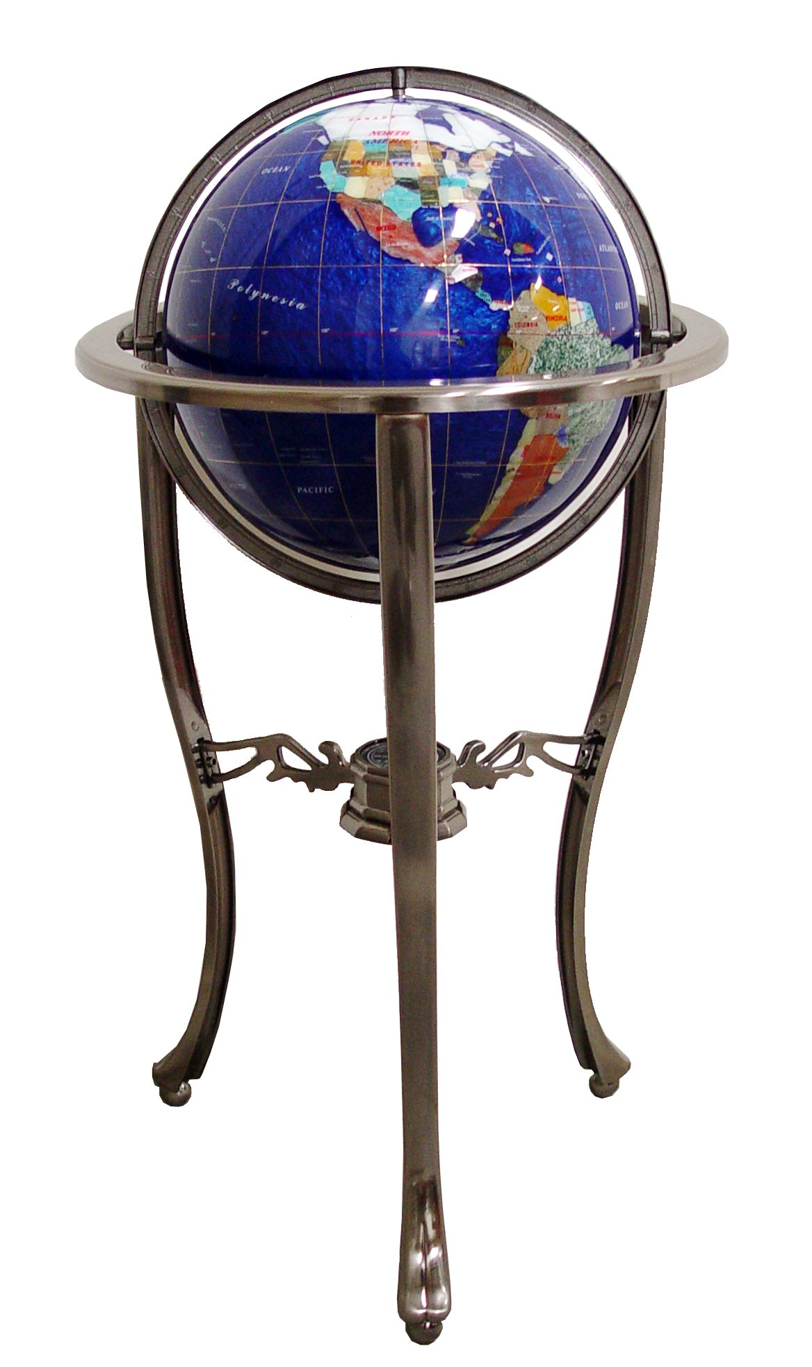 Unique Art Since 1996 Brand 37'' Tall Bahama Blue Pearl Swirl Ocean Floor Standing Gemstone World Globe with Tripod Silver Stand and 50 US State Stones