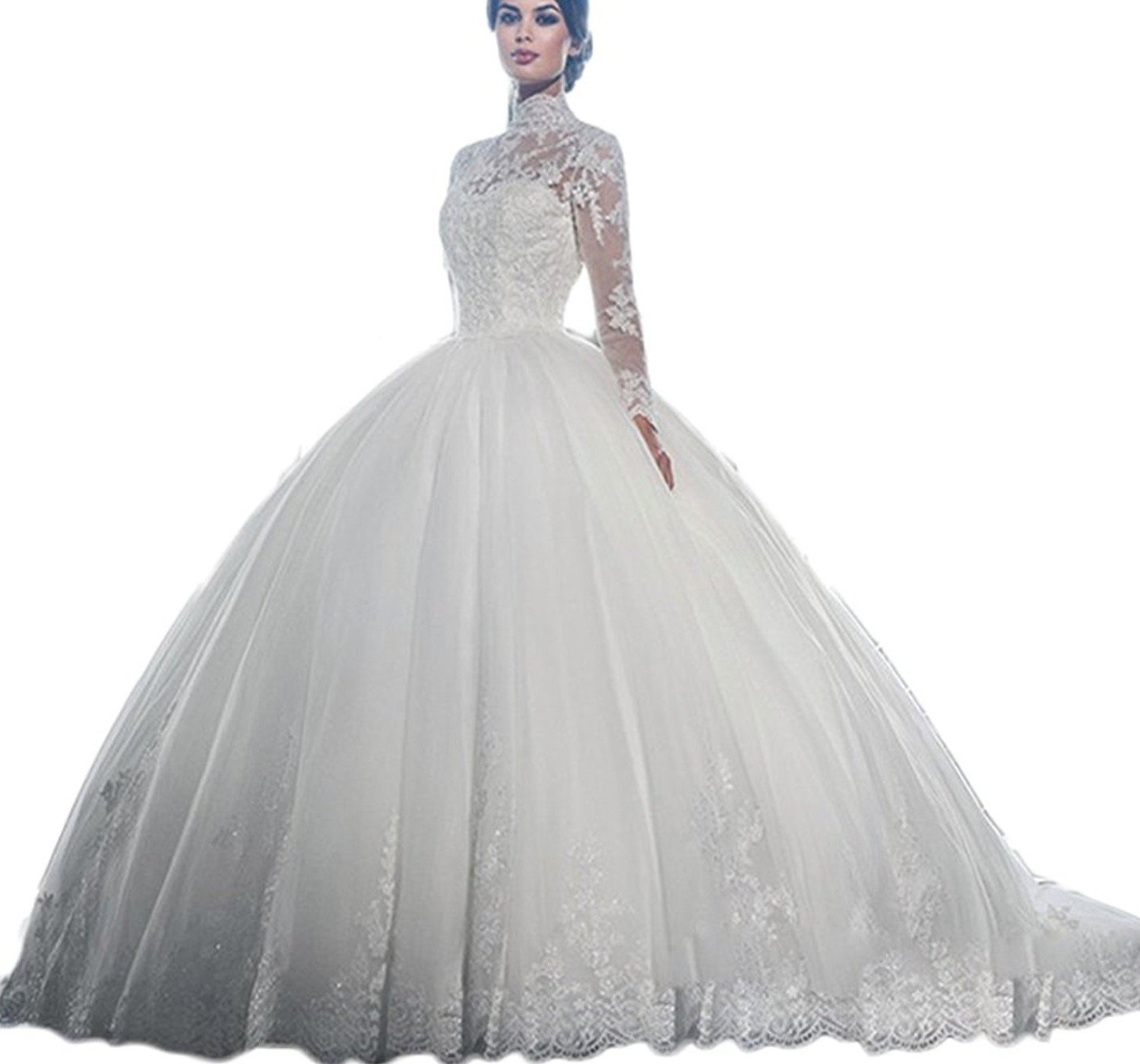 Diandiai Women's Lace Long Sleeve Ball Gown Wedding Dress Hight Neck Size Plus Wedding Dress For Bride White 6