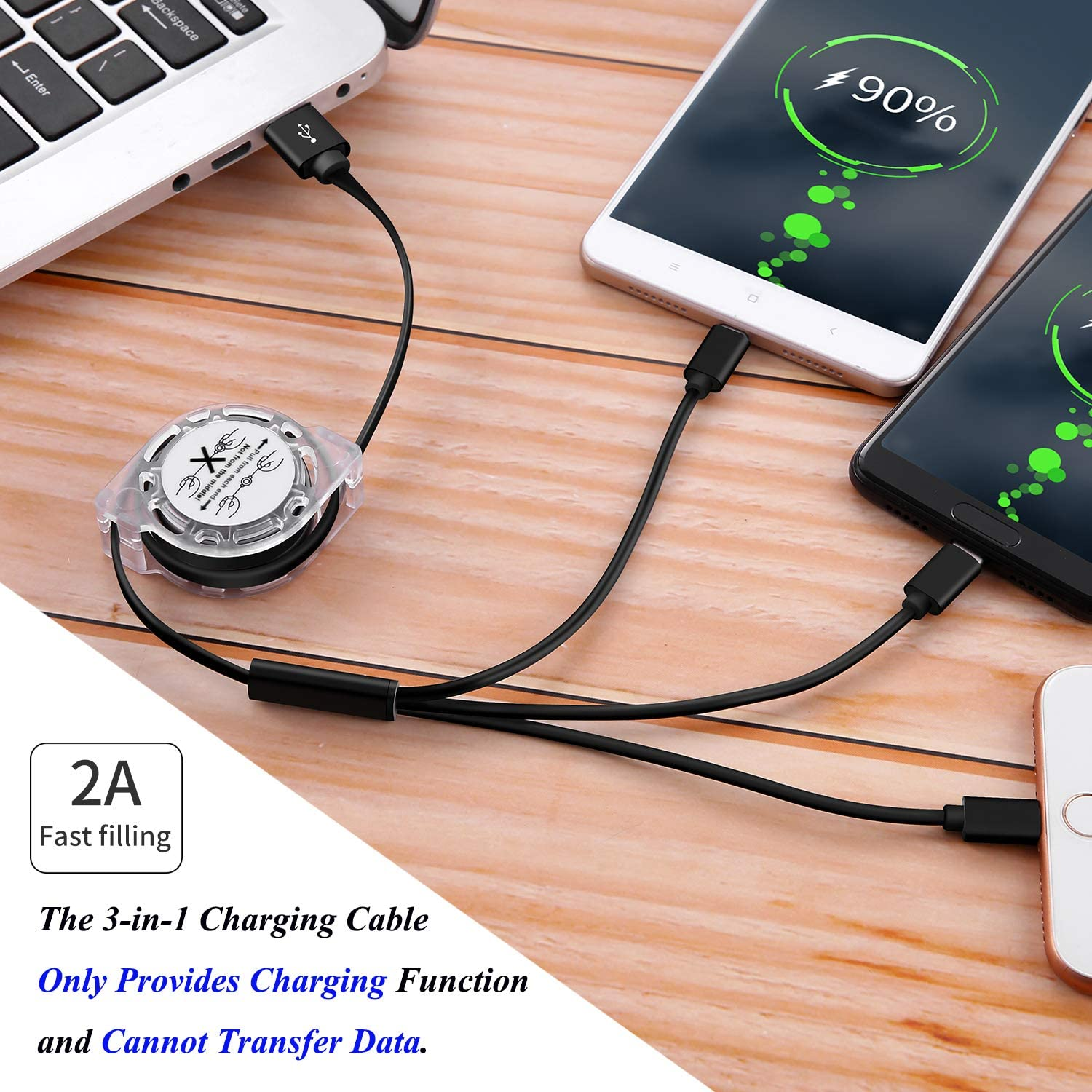 3-in-1 Retractable USB Charging Cable Bike Club Fast Charging Print Charger Cord Compatible with Cell Phones Tablets Universal Use