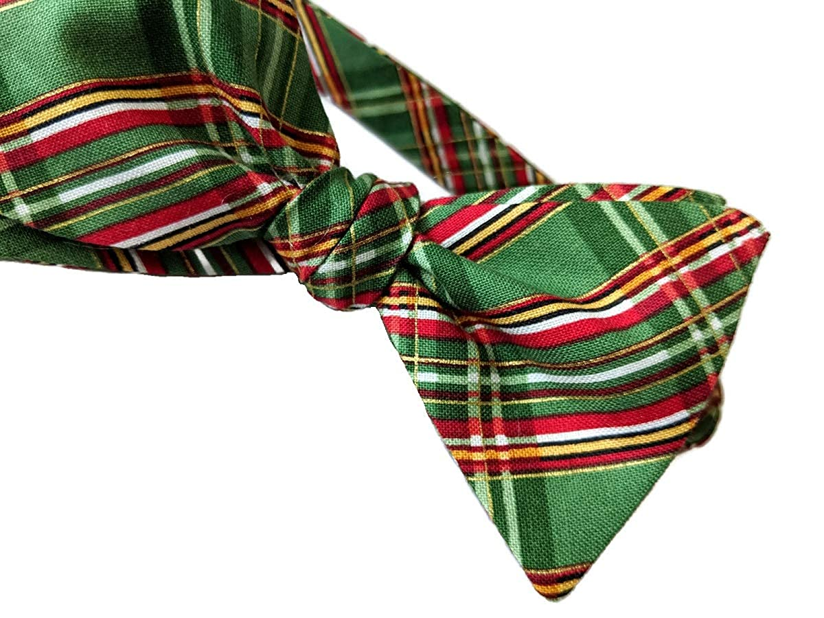 Men/'s Bow Tie Holiday Plaid with Gold Metallic Self-tie