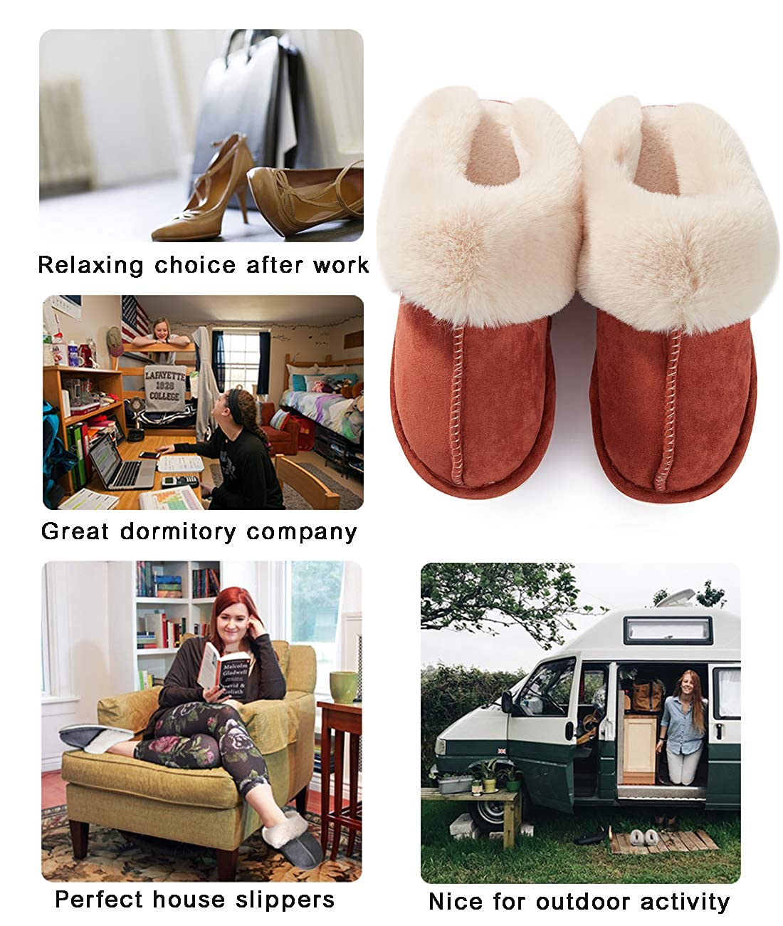 Womens Slippers Memory Foam Fluffy Warm Non-Slip Comfortable Slip-on House Shoes Plush Indoor /& Outdoor Winter