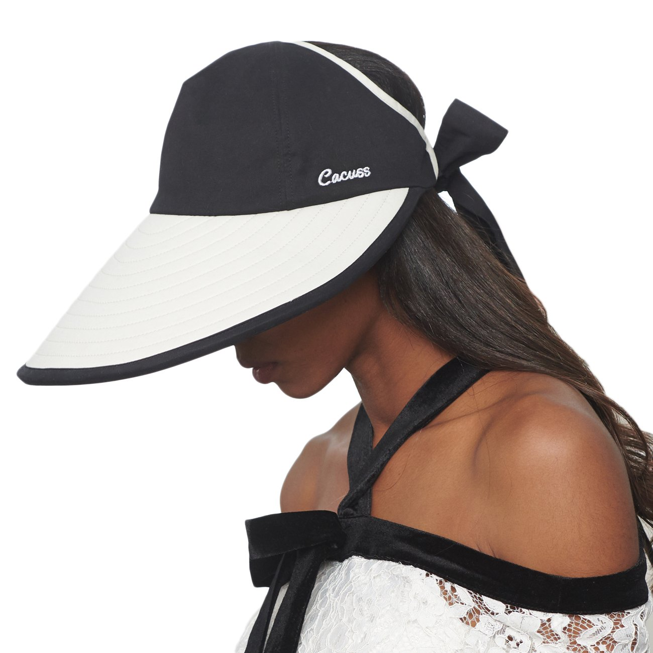 CACUSS Women's Summer Sun Hat Large Brim Visor with Bowknot Adjustable UPF 50+ C0215White