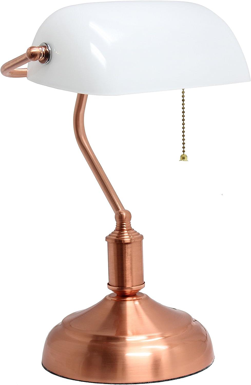 Simple Designs LT3216-RGD Executive Banker's Glass Shade, Desk Lamp, Rose Gold/White