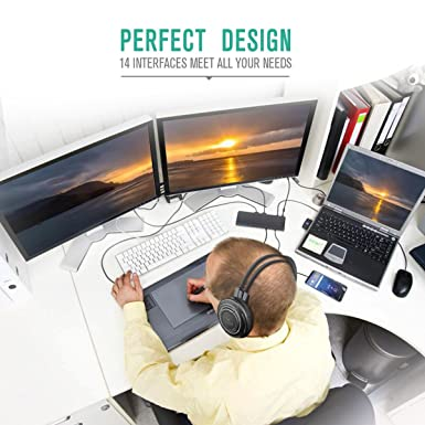 Nekteck station d accueil USB Type C, prend en charge Triple écrans 4 K HD,  60 W de Puissance Livraison, HDMI 4 K   30hz, 4 K DP   60 Hz, ... 8ea9f399b25d