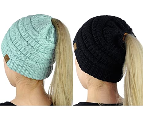 24a19cc3685 Image Unavailable. Image not available for. Colour  C.C BeanieTail Soft  Stretch Cable Knit Messy High Bun Ponytail Beanie Hat