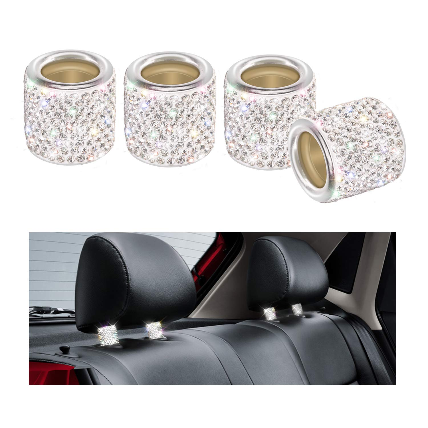 YINUO 4 Pezzi Universale Chrome Bling Cristallo Gioielli Poggiatesta Sedili Collari Decoration Per Auto Veicolo (Argento) Shenzhen yinuoweixun E-commerce Co. LTD