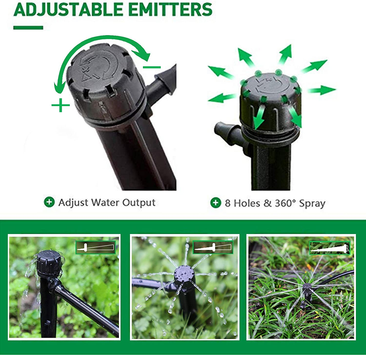 360 Degree Dripper Perfect for Irrigation System Watering Kits for Garden Patio Lawn Flower Bed MIXC 50PCS Drip Emitters Sprayer with Stake Water Flow Adjustable for 1//4 inch Irrigation Tube Hose