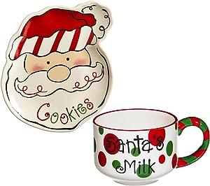 Cypress Home Sculpted Ceramic Cookies for Santa Plate and Mug Set