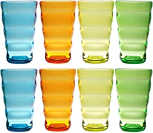 QG Set of 8 Break-Resistant Acrylic 25 oz Colorful Wavy Iced Tea Cup Plastic Tumbler Set in 4 Assorted Colors 88351-4C