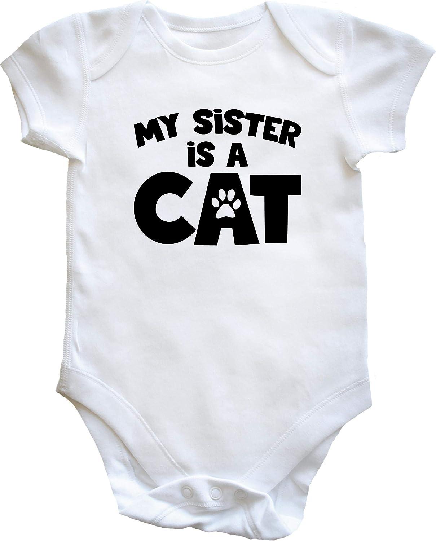Boys Girls Hippowarehouse My Sister is a cat Baby Vest Bodysuit Short Sleeve