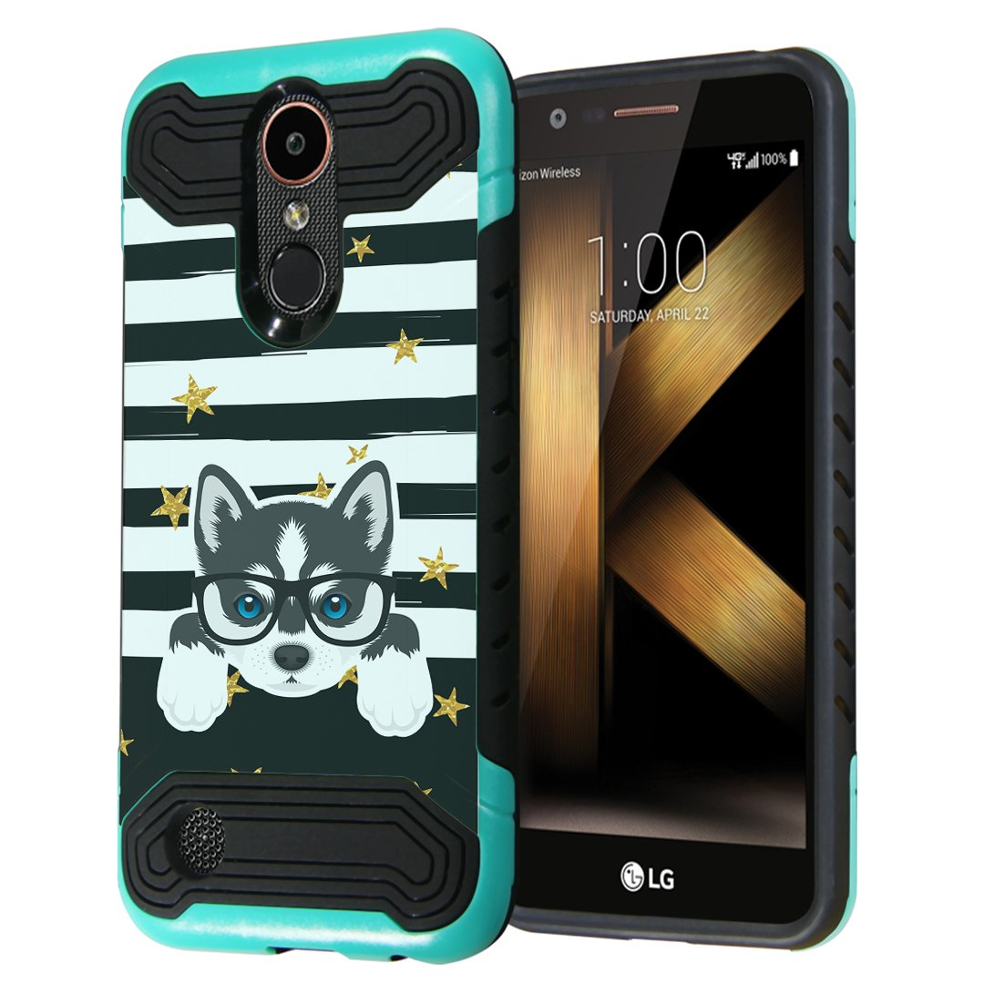 LG K20Plus / LG K20V Case, LG Harmony Case, LG Grace LTE Case, Capsule-Case Quantum Dual Layer Slim Armor Case (Teal & Black) for LG K20 Plus / K20 V/Harmony/Grace- (Siberian Husky)