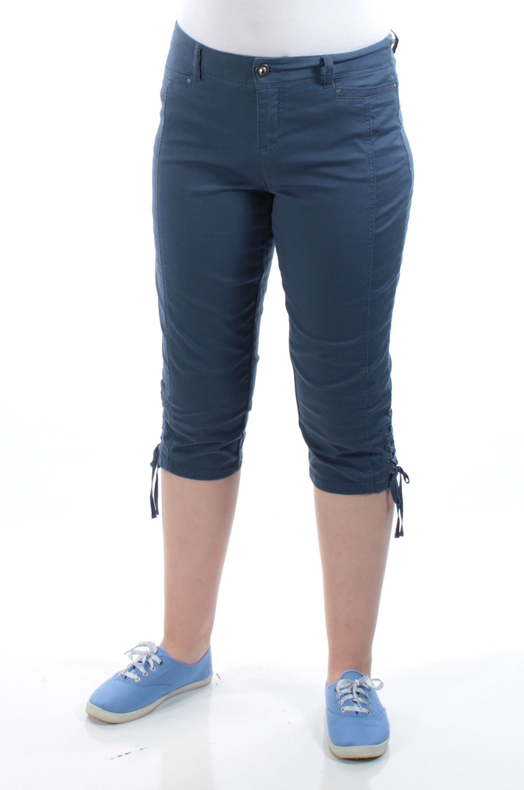 Style & Company Womens New 1086 Blue Tie Capri Casual Pants Petites 8 B+B