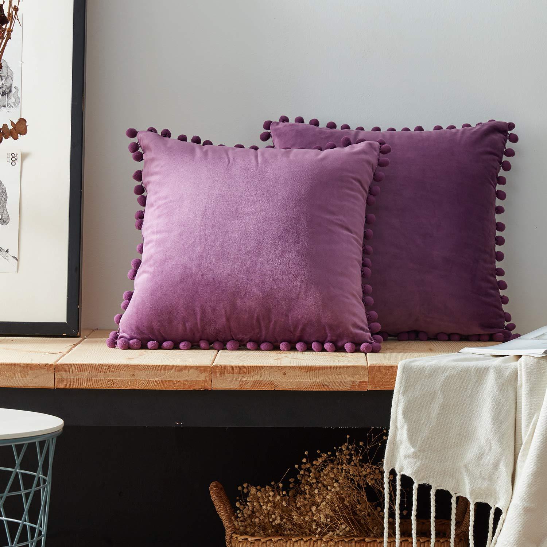 Top Finel Federe cuscini in velluto morbidi quadrati decorativi in divano letto sedia un serie include 4 pezzi 45x45CM Bianco KD046-White-4