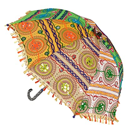 Lal Haveli Handmade Embroidered Work Design Summer Sun Base Parasol for Birthday Decorations Items 21 x 26 inches