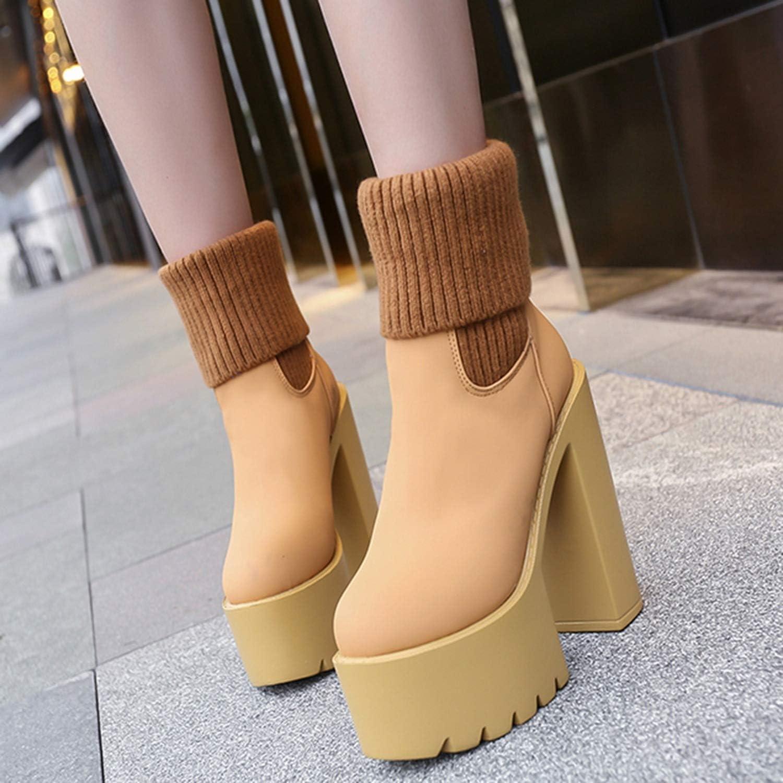 Fairy-Margot Women Boots Leather Female High Heels Round Toe Ladies Shoes High Platform Heels