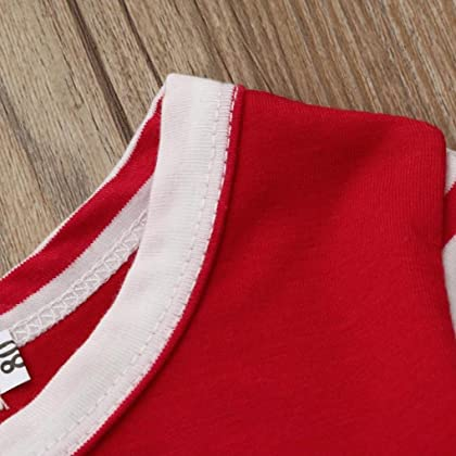 0f0942d13be ... iumei Baby Boy Girl My First Christmas Clothes Striped Long Sleeve Red  Rompers Outfits (0 ...