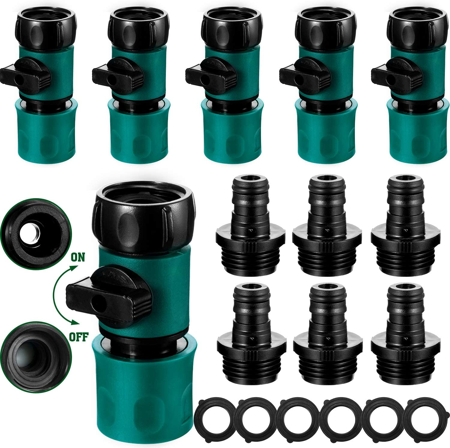 6 Sets Plastic Garden Hose Quick Connector with Shutoff Valve Set 3/4 Inch Hose Connect Fitting Male and Female Set Quick Release Hose Adapter Kit with 12 Pieces Rubber Gaskets for Water Hose Coupling