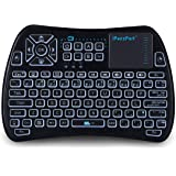iPazzPort RGB Backlit Mini Wireless Keyboard with Touchpad Mouse and IR Learning TV Remote Combo, 2.4GHz USB Keyboard for Android TV Box, Nvidia Shield TV, Smart TV, Raspberry Pi, Black KP-810-61
