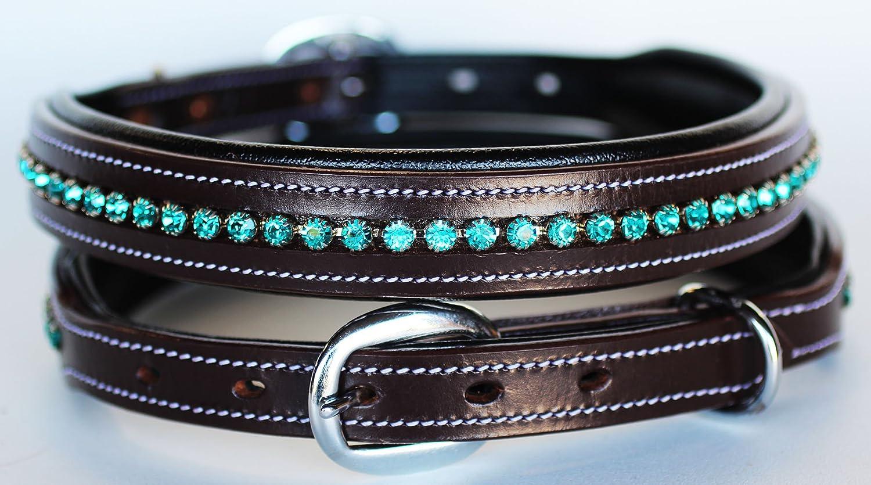 Medium 17'' 21'' PRORIDER Rhinestone Dog Puppy Collar Crystal Western Cow Leather 6026