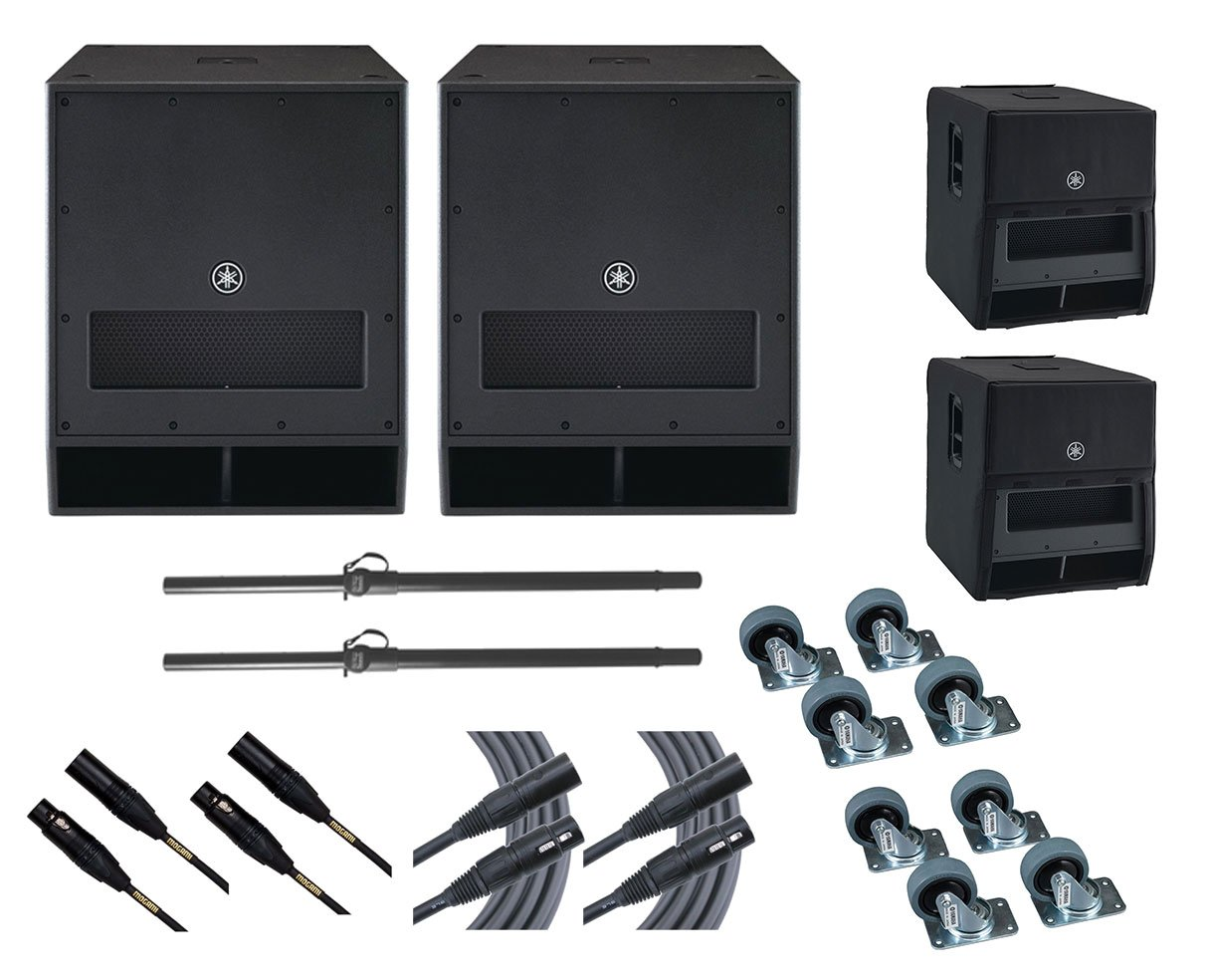2x Yamaha DXS18 Subwoofer Speaker +Stands +Covers +Mogami Cables +Wheel Kits