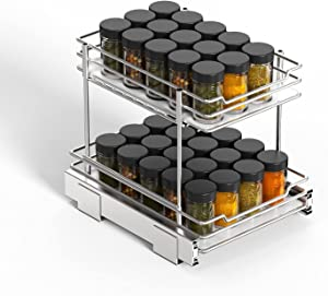 G-TING Pull Out Spice Rack Organizer for Cabinet, 2-Tier Slide Out Kitchen Cabinets and Pantry Closet Storage Shelf 10.5