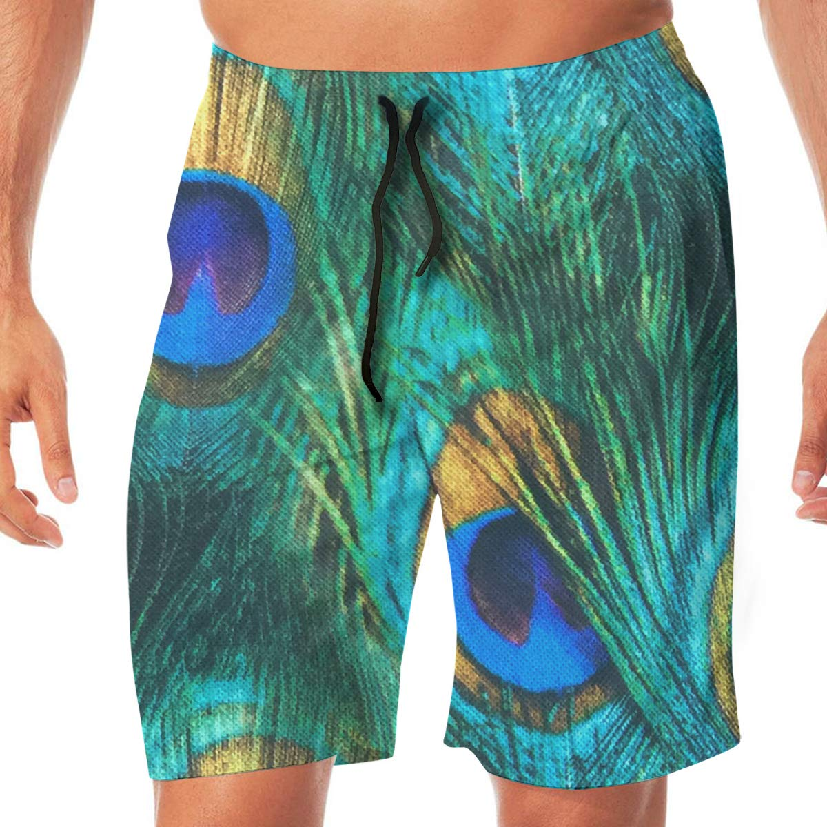 Peacock Feather Cotton Mens Classic Swim Beach Shorts with Pockets