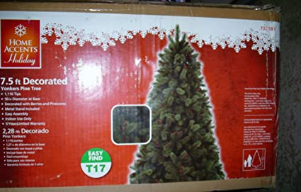 home accents holiday 75 ft unlit decorated yonkers pine tree