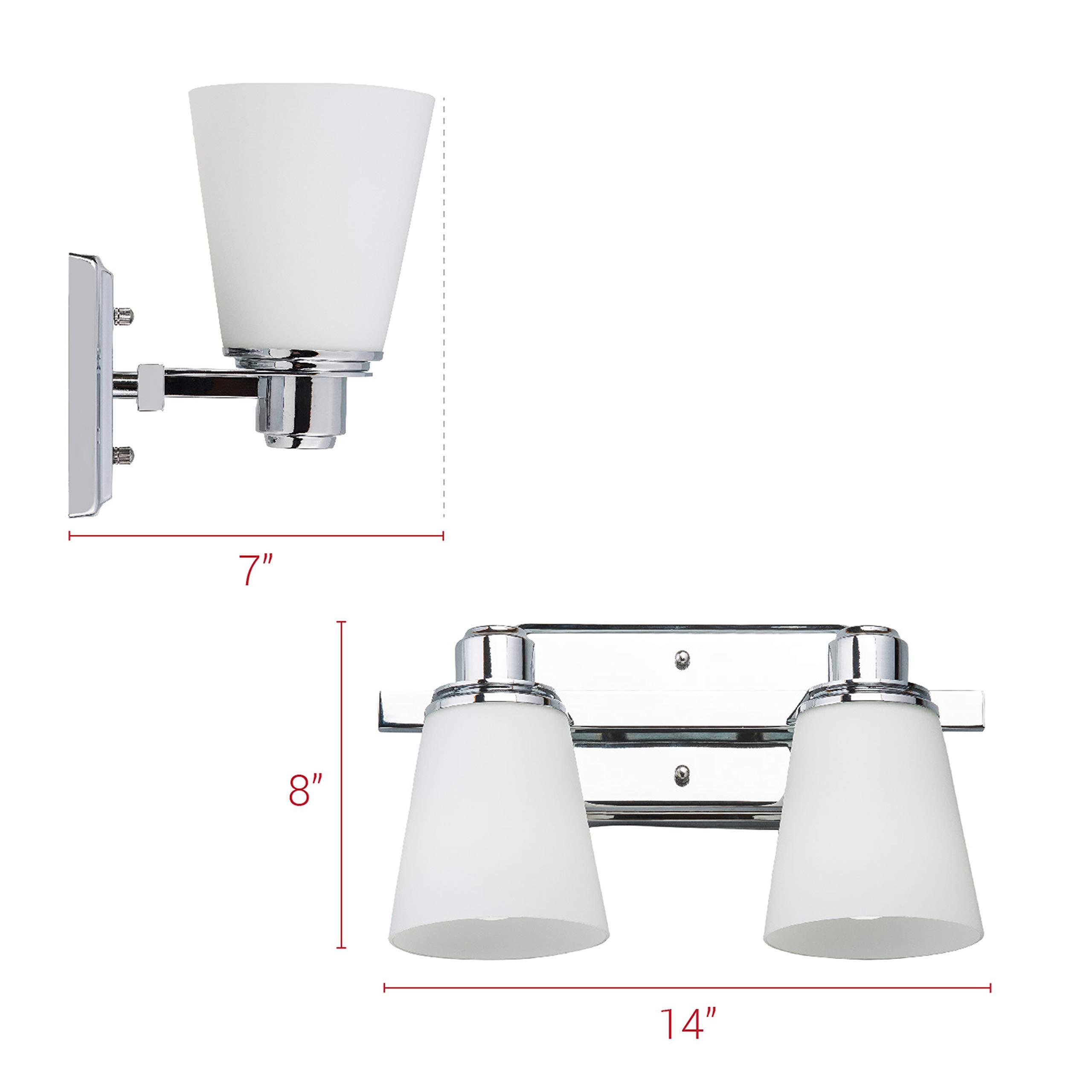 Terracina Two-Light Vanity Sconce Lamp, Polished Chrome with Opal Glass Linea di Liara LL-WL220-2 by Linea di Liara (Image #3)