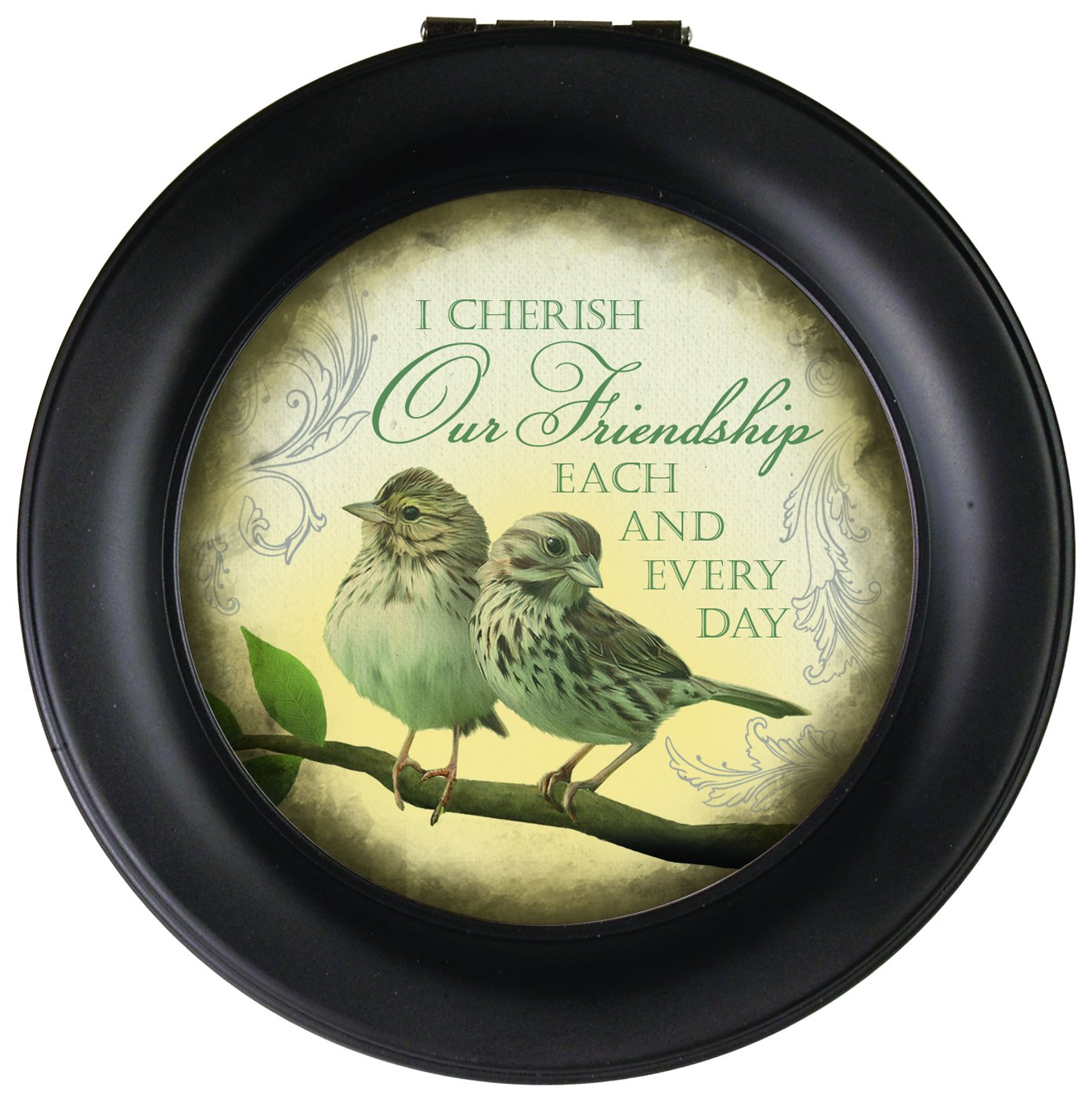 Carson Home Accents Friendship Every Day Round Music Box Playing Swan Lake
