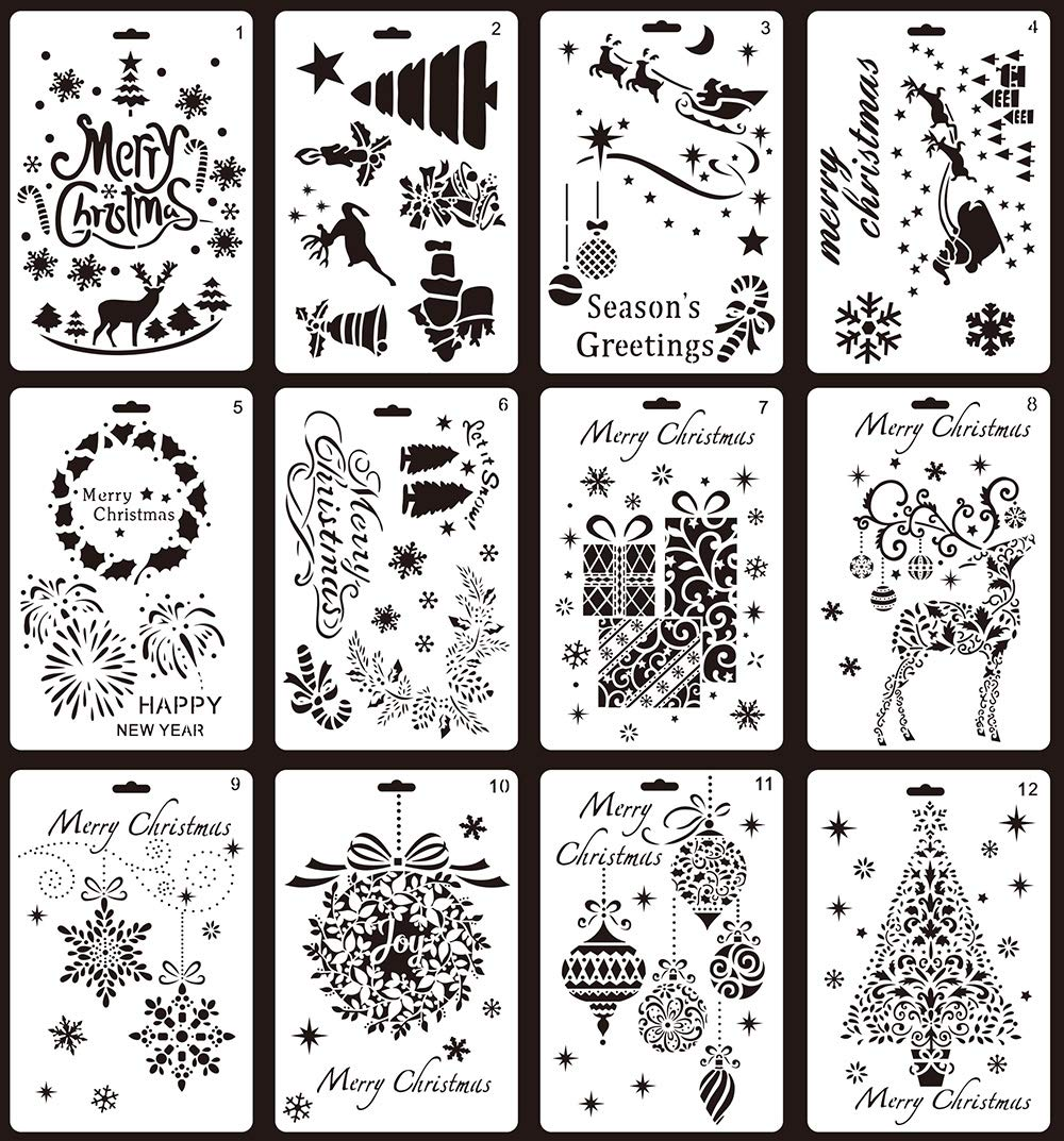 FY 12 Pack Christmas Stencils Christmas Tree, Snowflakes Merry Christmas Drawing Painting Stencil DIY Drawing Painting Templates Craft