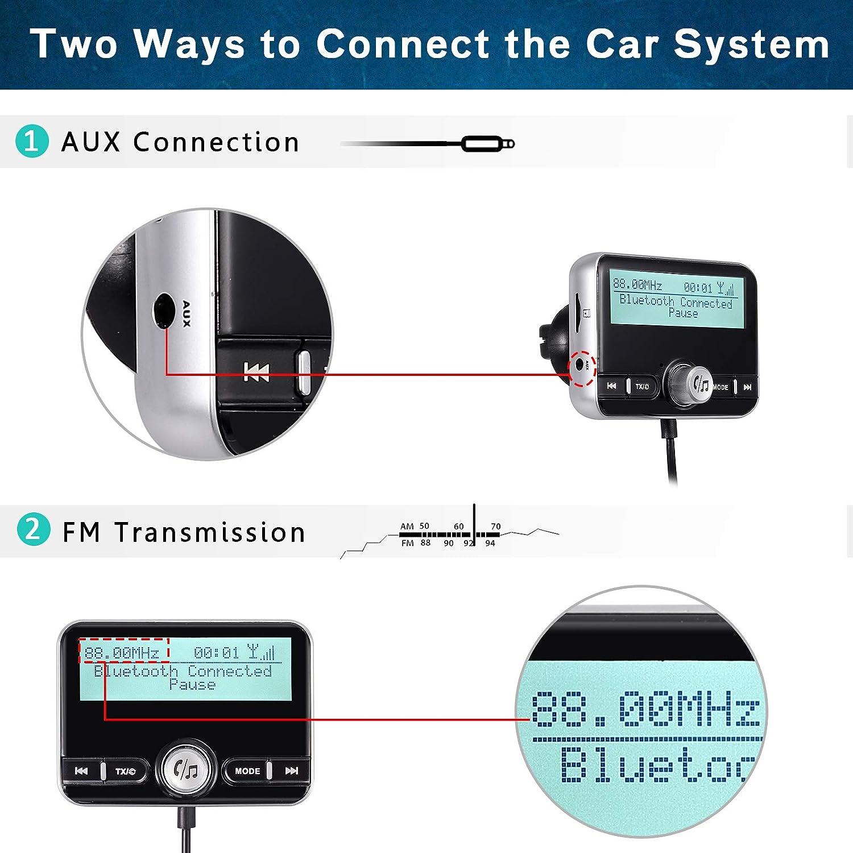 ESYNiC DAB FM Trasmettitore Bluetooth V4.2 EDR Wireless con Caricatore da Auto Kit Handsfree per Auto DAB Adattatore QC3.0 Caricabatterie Dual USB 2.4 Radio di MP3 con 3M Antenna e 3.5mm Aux